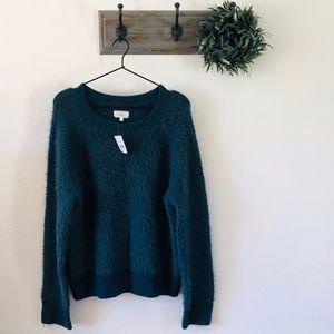 NWT Lou & Grey Teal Fuzzy Sweater L